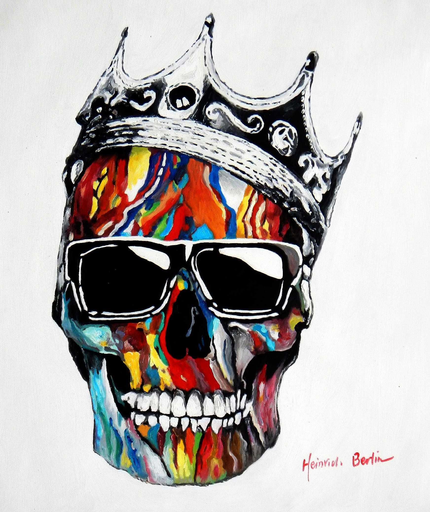 Modern Art - King skull raising c95749 50x60cm abstraktes Ölbild