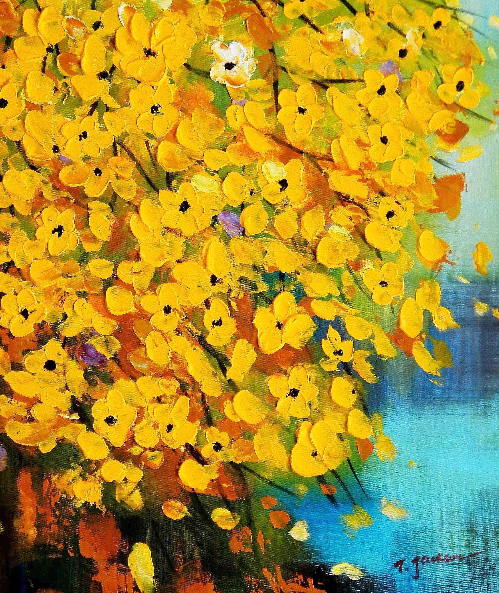 Modern Art - Gelbe Blüten Flavo Flores c95754 50x60cm abstraktes Ölbild