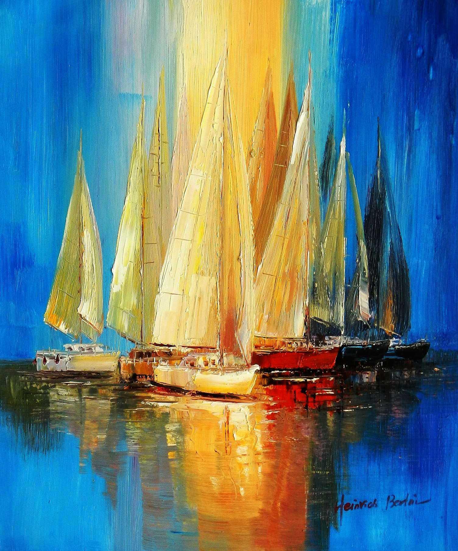 Segelboote auf dem Gardasee c95759 50x60cm modernes Gemälde handgemalt