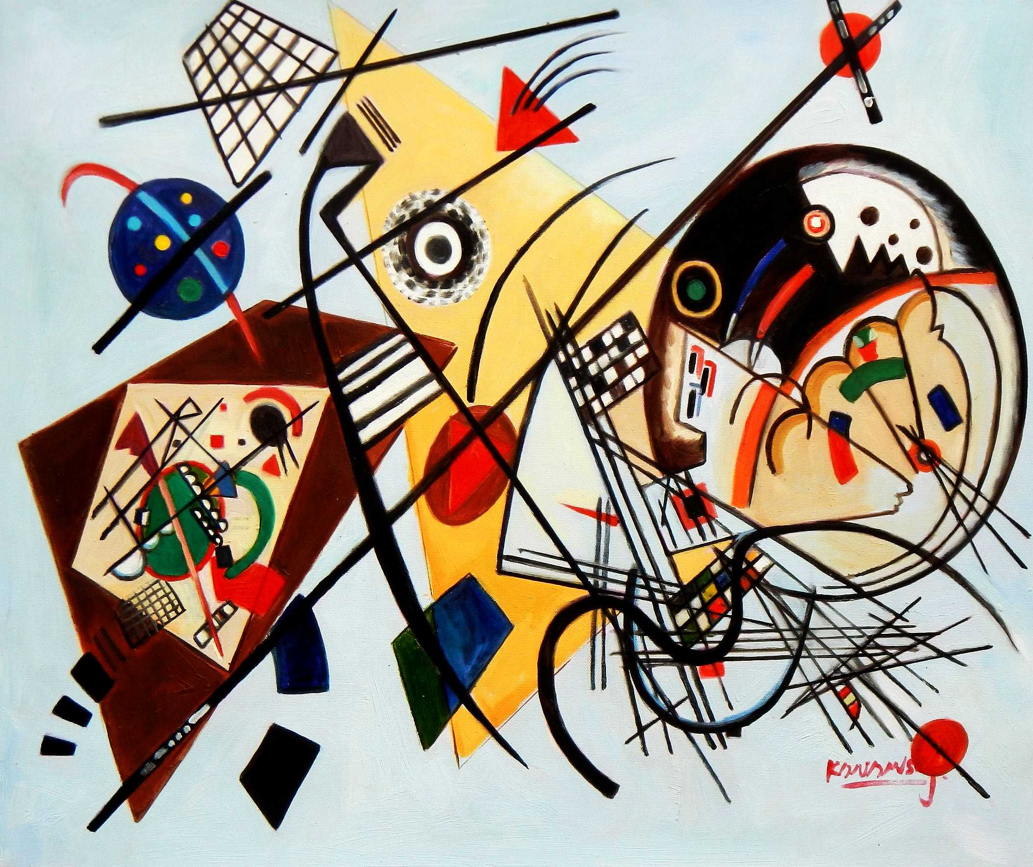 Wassily Kandinsky - Querlinie c95773 50x60cm exzellentes Ölgemälde