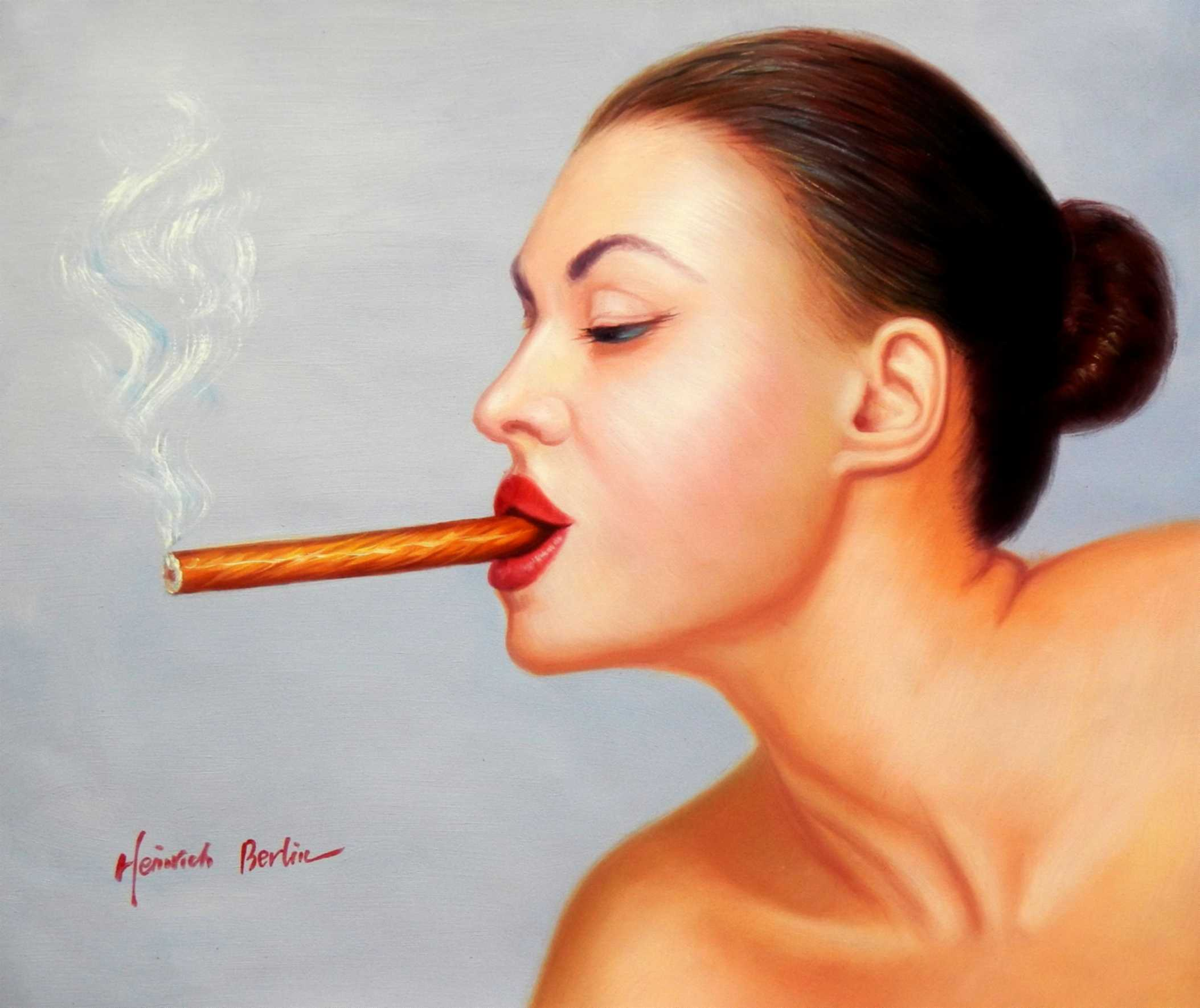 Modern Art - Frau mit Cohiba Zigarre c95777 50x60cm exquisites Ölgemälde