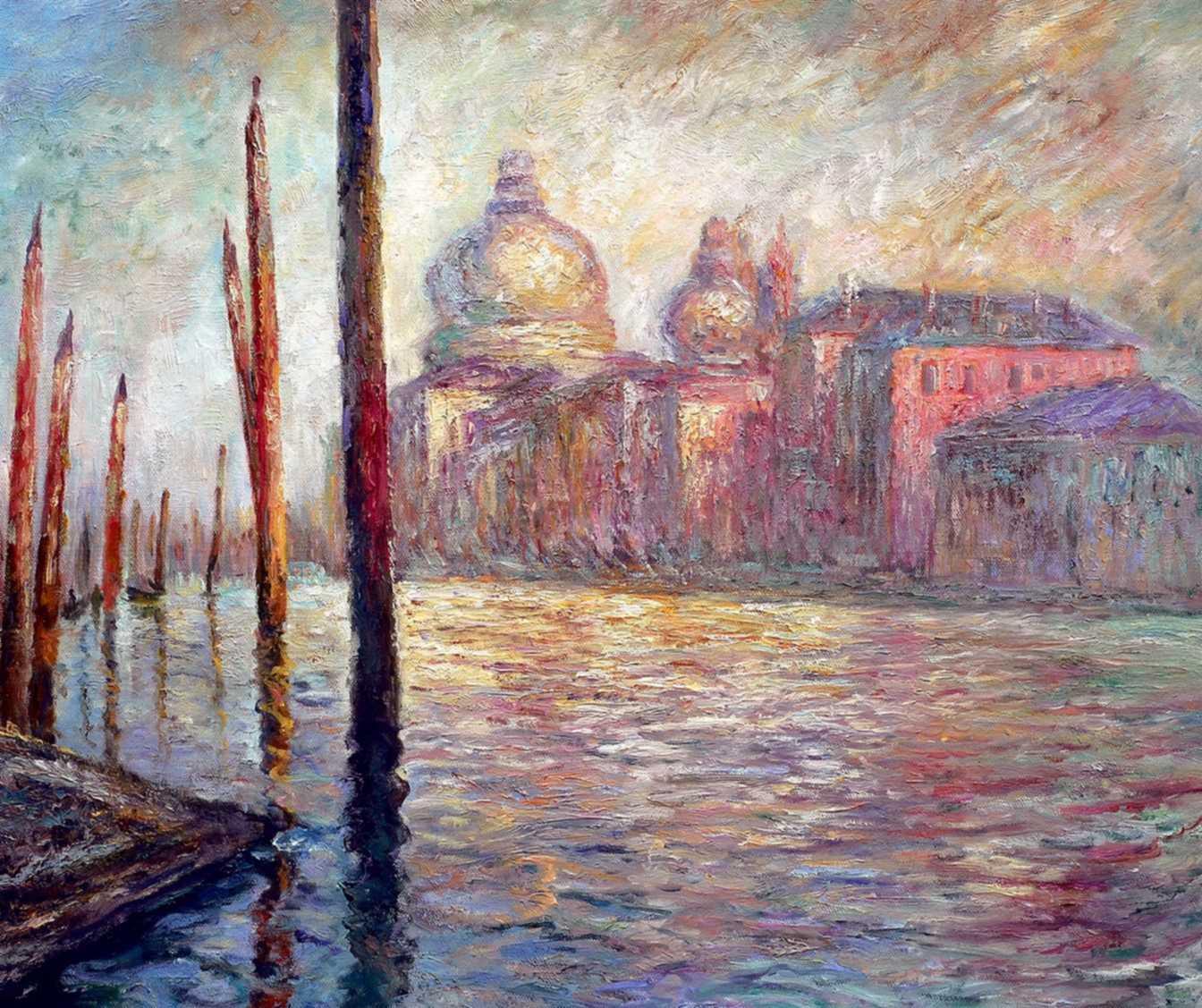 Claude Monet - Blick auf Venedig c95986 50x60cm exzellentes Ölgemälde handgemalt Museumsqualität