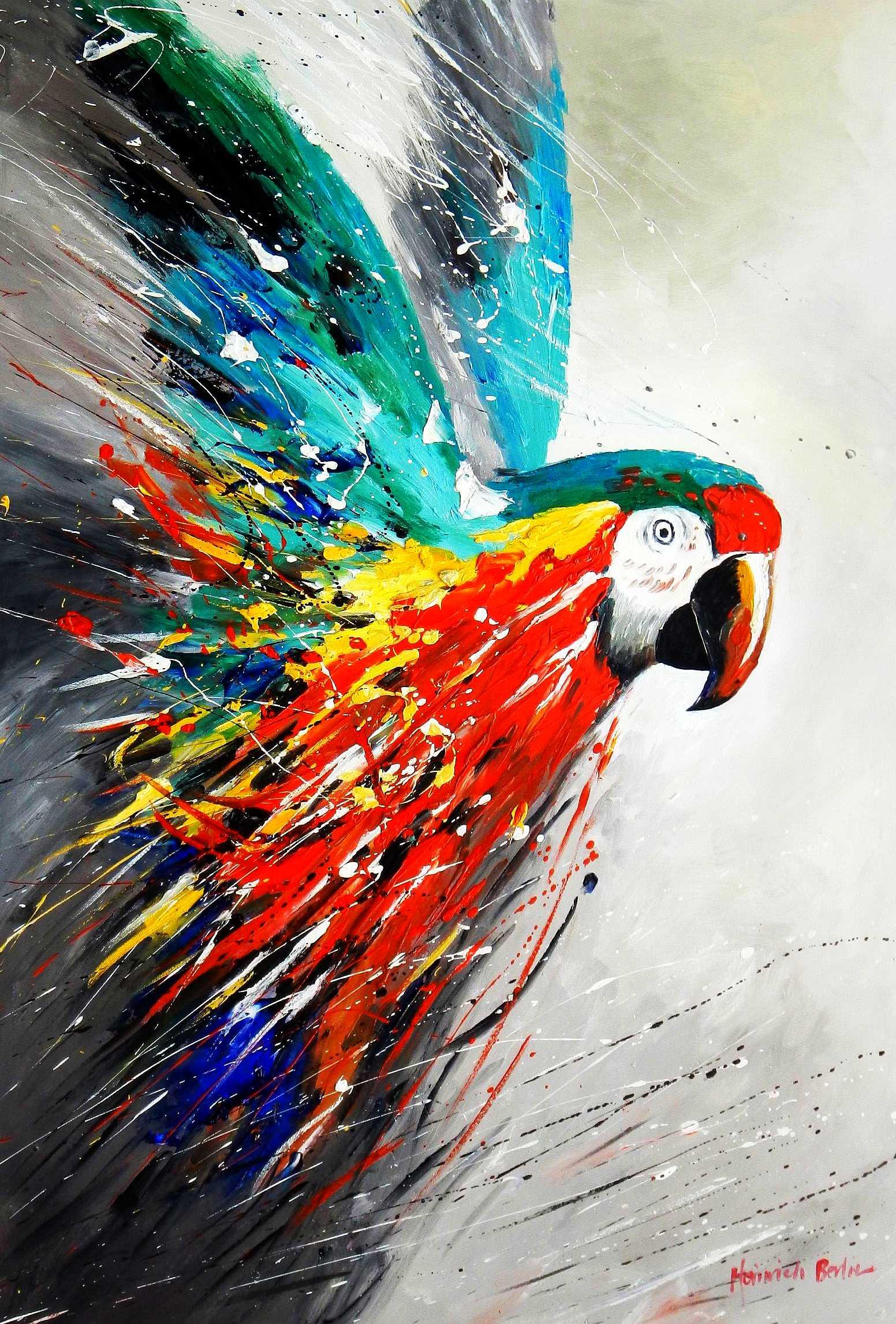 Modern Art - Papagei im Paradies d95807 60x90cm abstraktes Ölbild