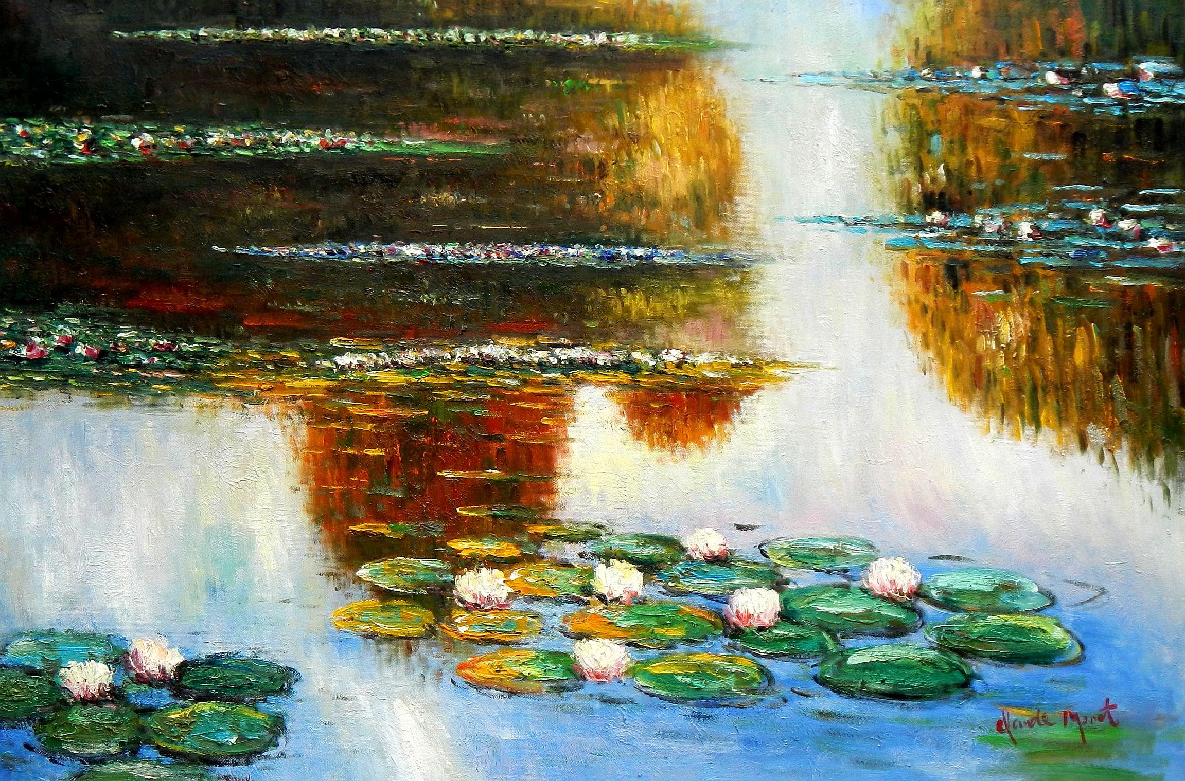 Claude Monet - Seerosen im Licht d95819 60x90cm exquisites Ölbild