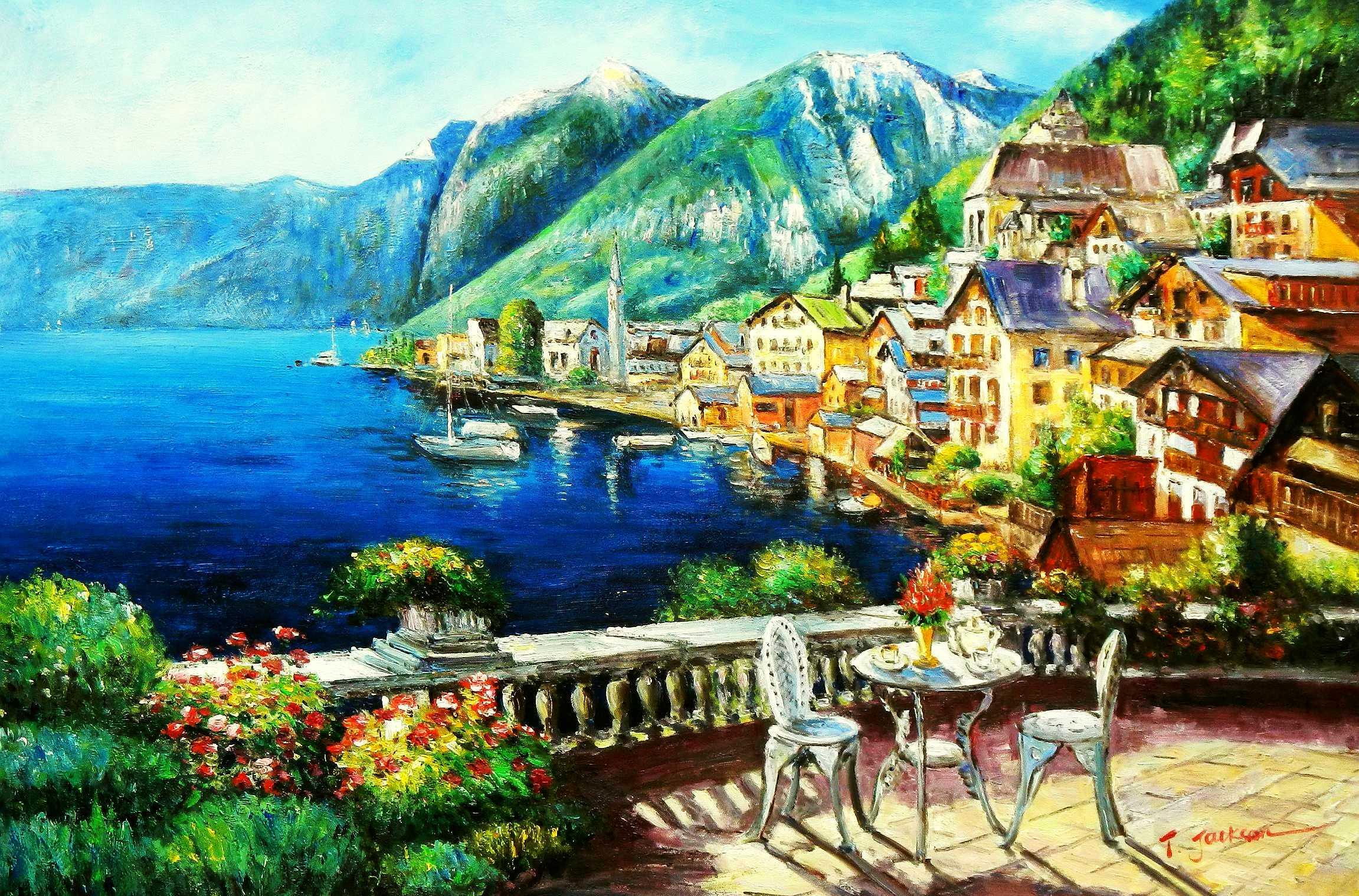 Hotelterrasse mit Meeresblick d95820 60x90cm abstraktes Gemälde handgemalt