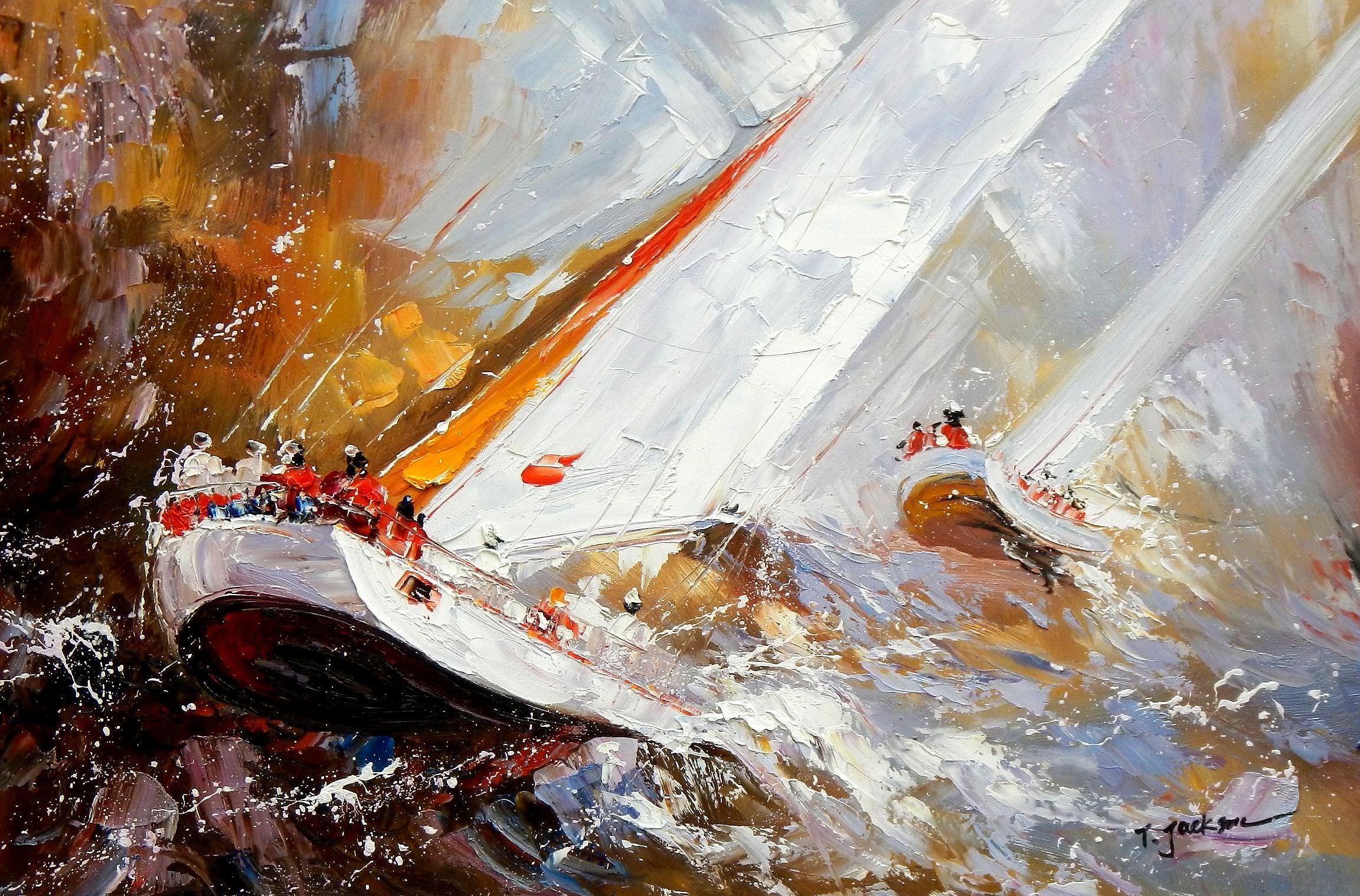 Modern Art - Segelregatta vor Helgoland d95822 60x90cm Ölbild handgemalt