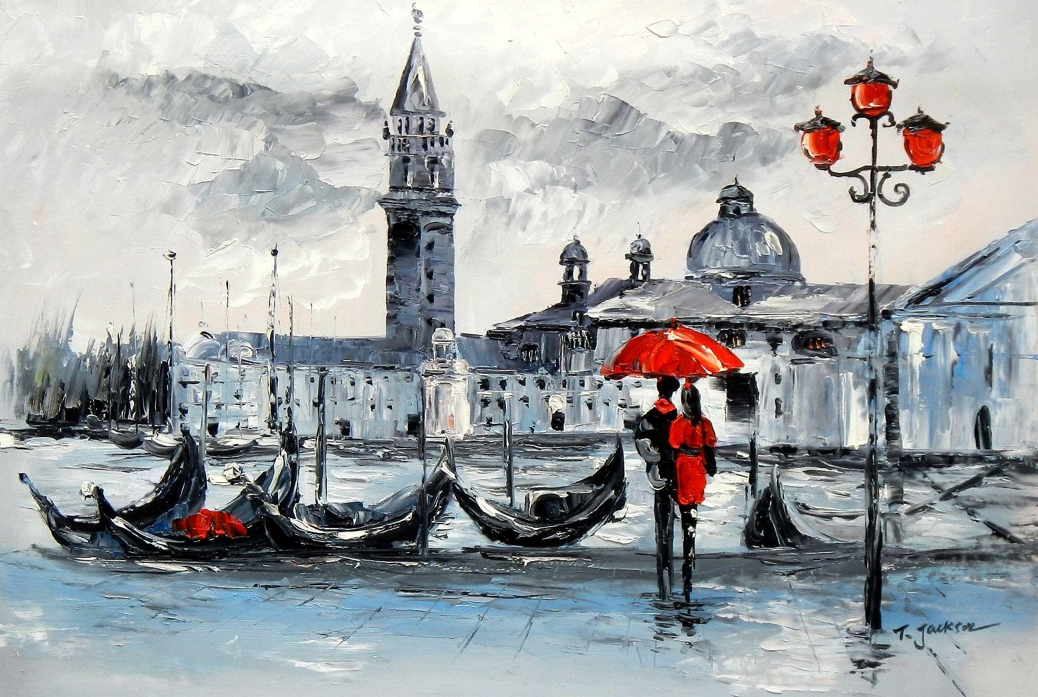Venedig am Dogenpalast d95841 60x90cm Ölgemälde handgemalt