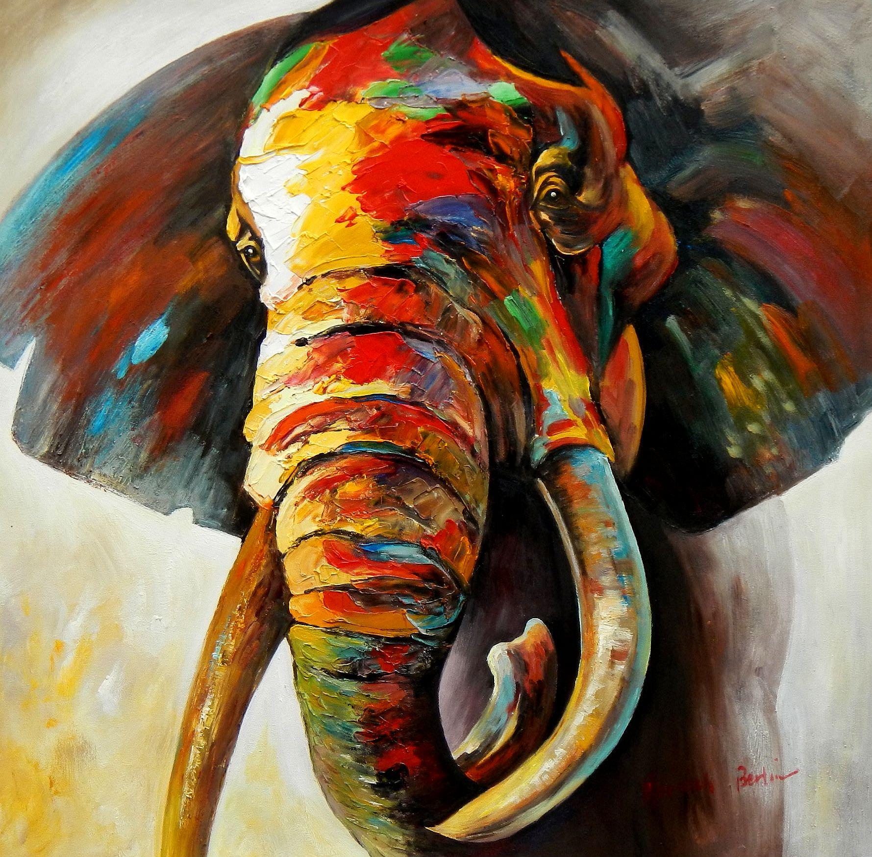 Modern Art - Afrika Safari Elefant e95789 60x60cm exzellentes Ölgemälde