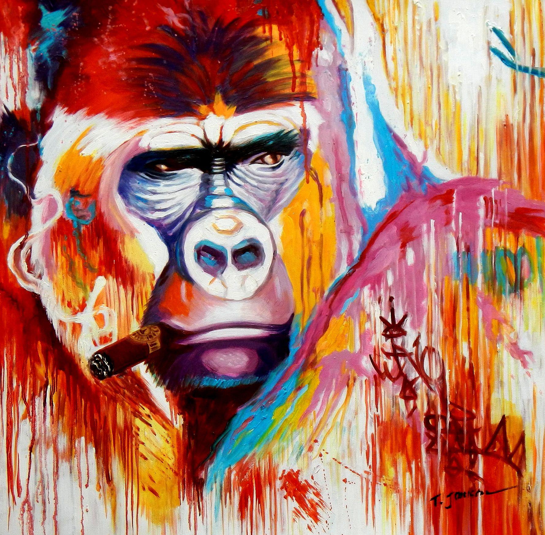 Modern Art - Gorilla mit Zigarre street art e95791 60x60cm exquisites Gemälde