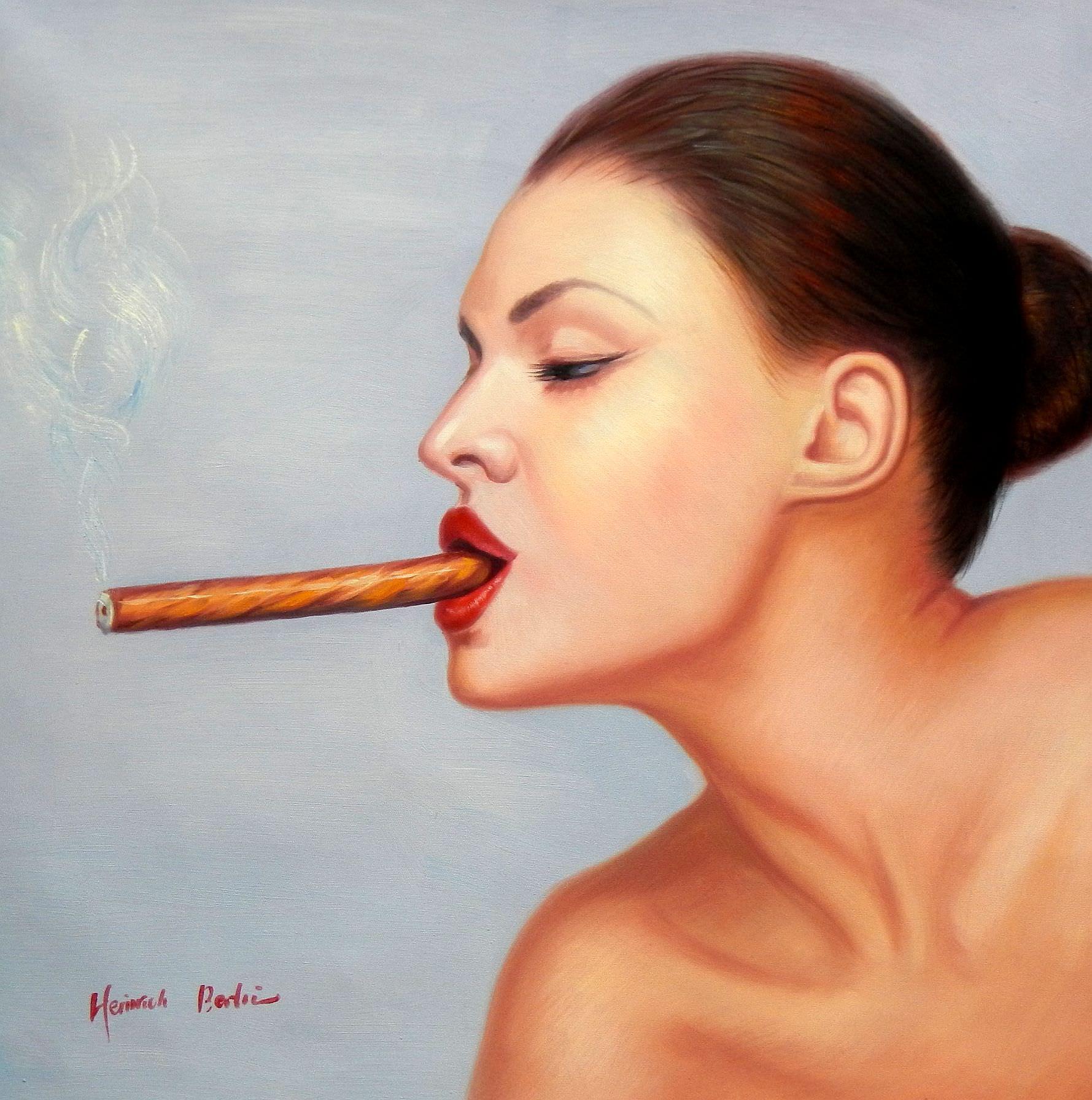 Modern Art - Frau mit Cohiba Zigarre e95797 60x60cm exquisites Ölgemälde