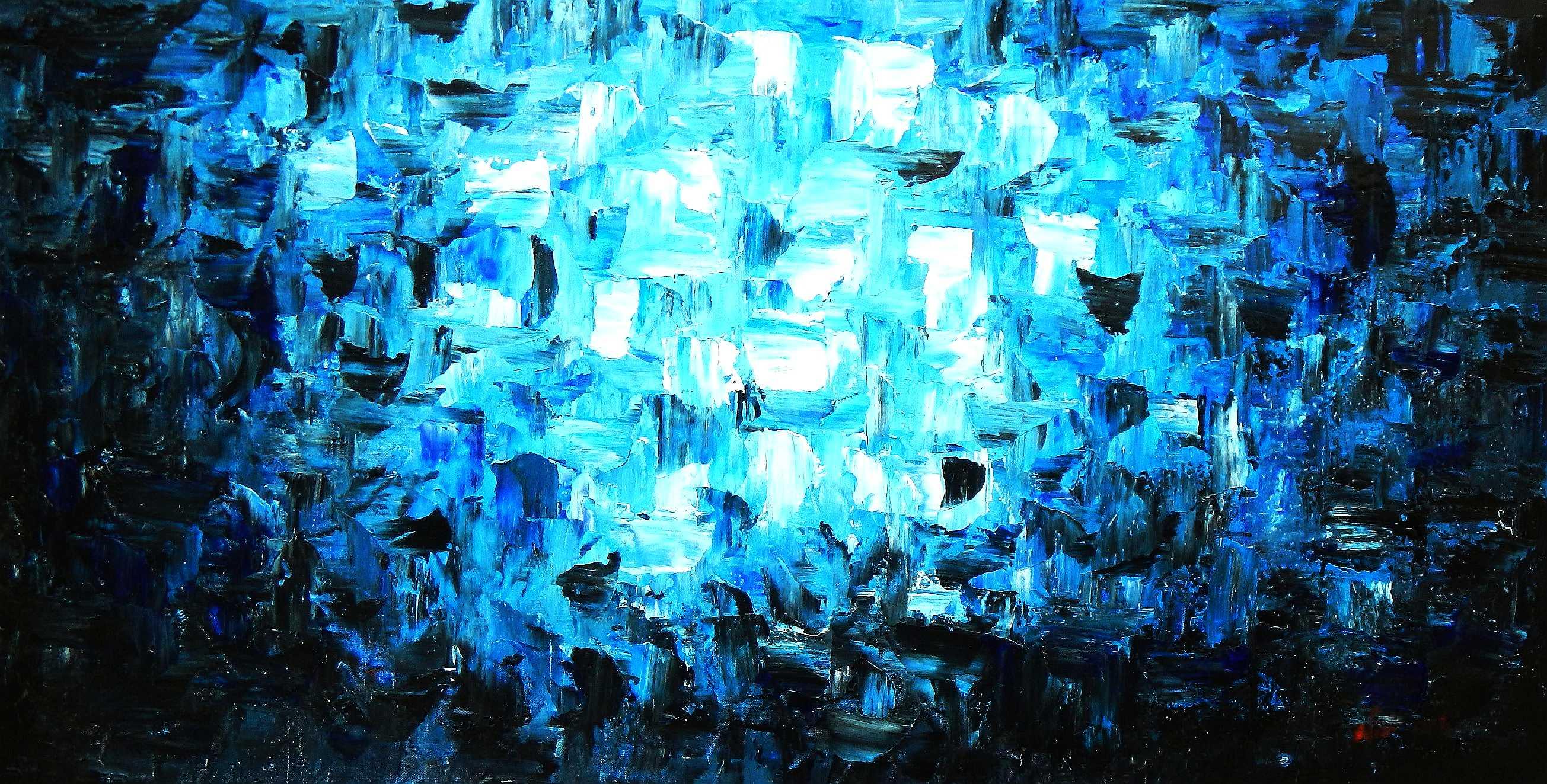 Abstrakt - Berlin am Wannsee f95847 60x120cm abstraktes Ölgemälde
