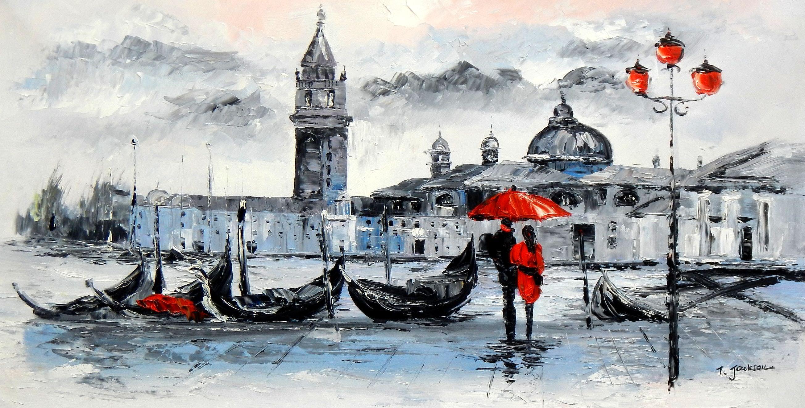 Venedig am Dogenpalast f95851 60x120cm Ölgemälde handgemalt