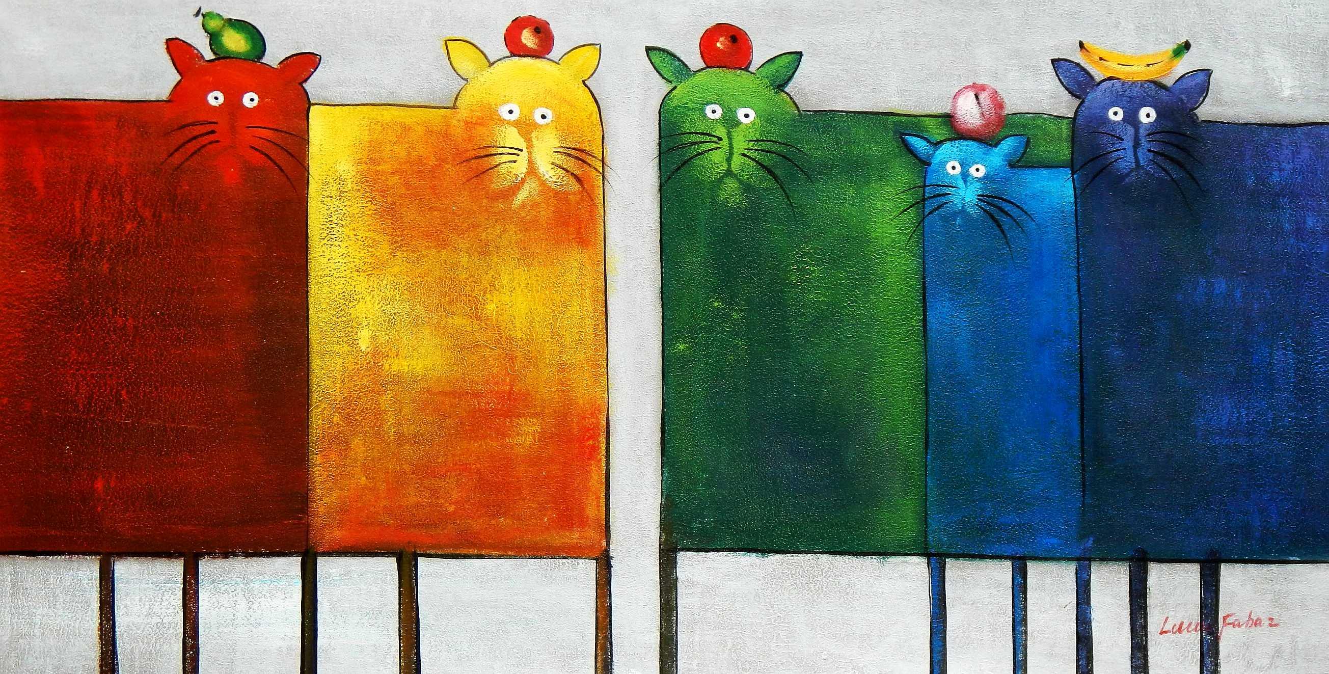 Pop Art - Das lustige bunte Katzenquintett f95854 60x120cm witziges Ölbild
