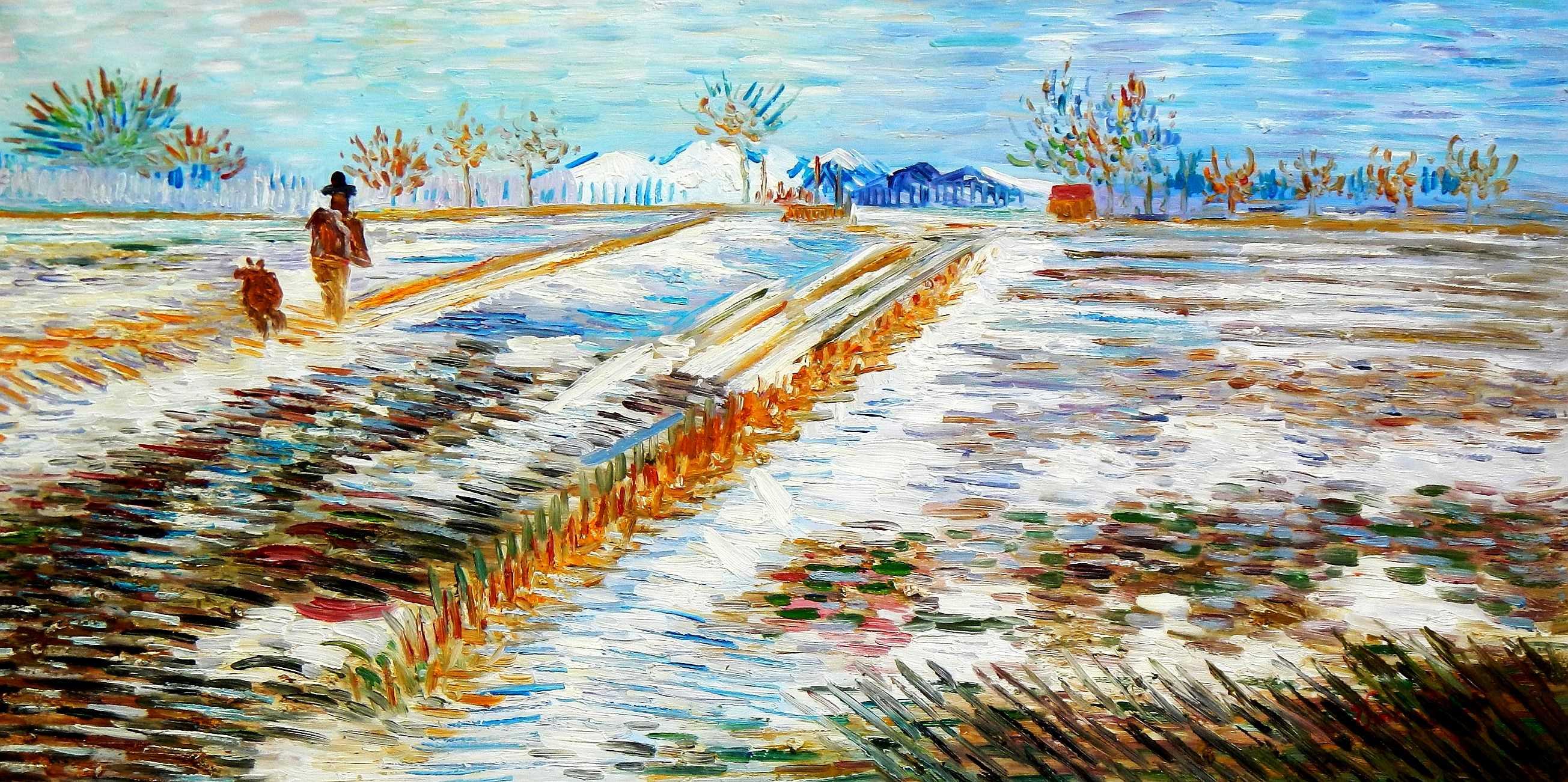 Vincent van Gogh - Landschaft mit Schnee f95859 60x120cm Ölbild handgemalt