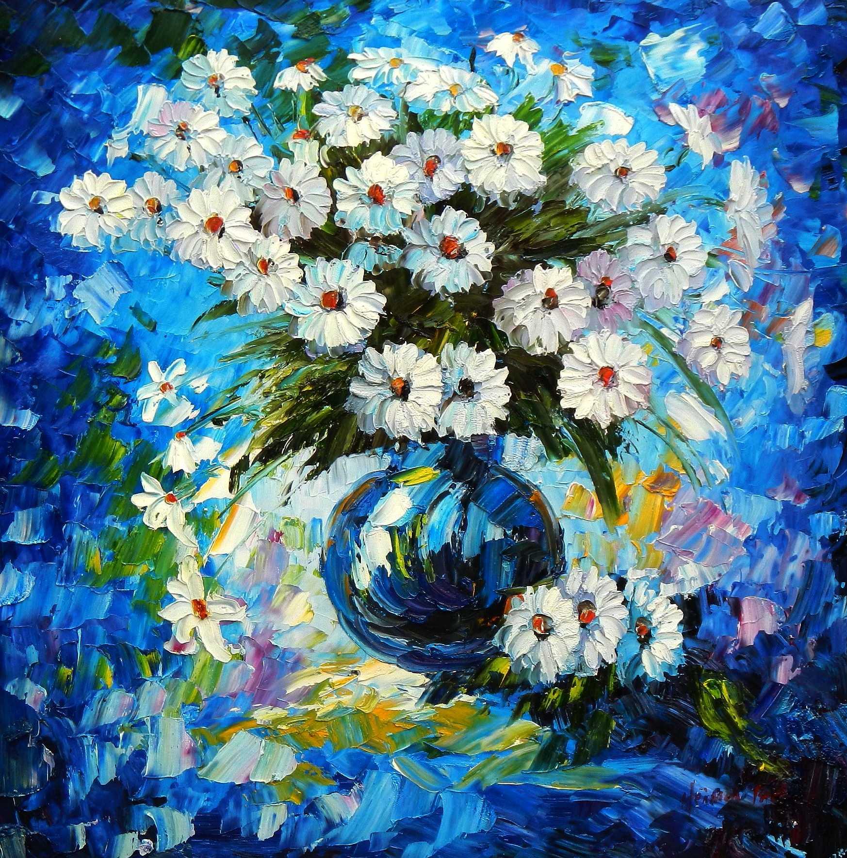 Modern Abstrakt - Vase mit bunten Blumen g95878 80x80cm abstraktes Ölbild handgemalt