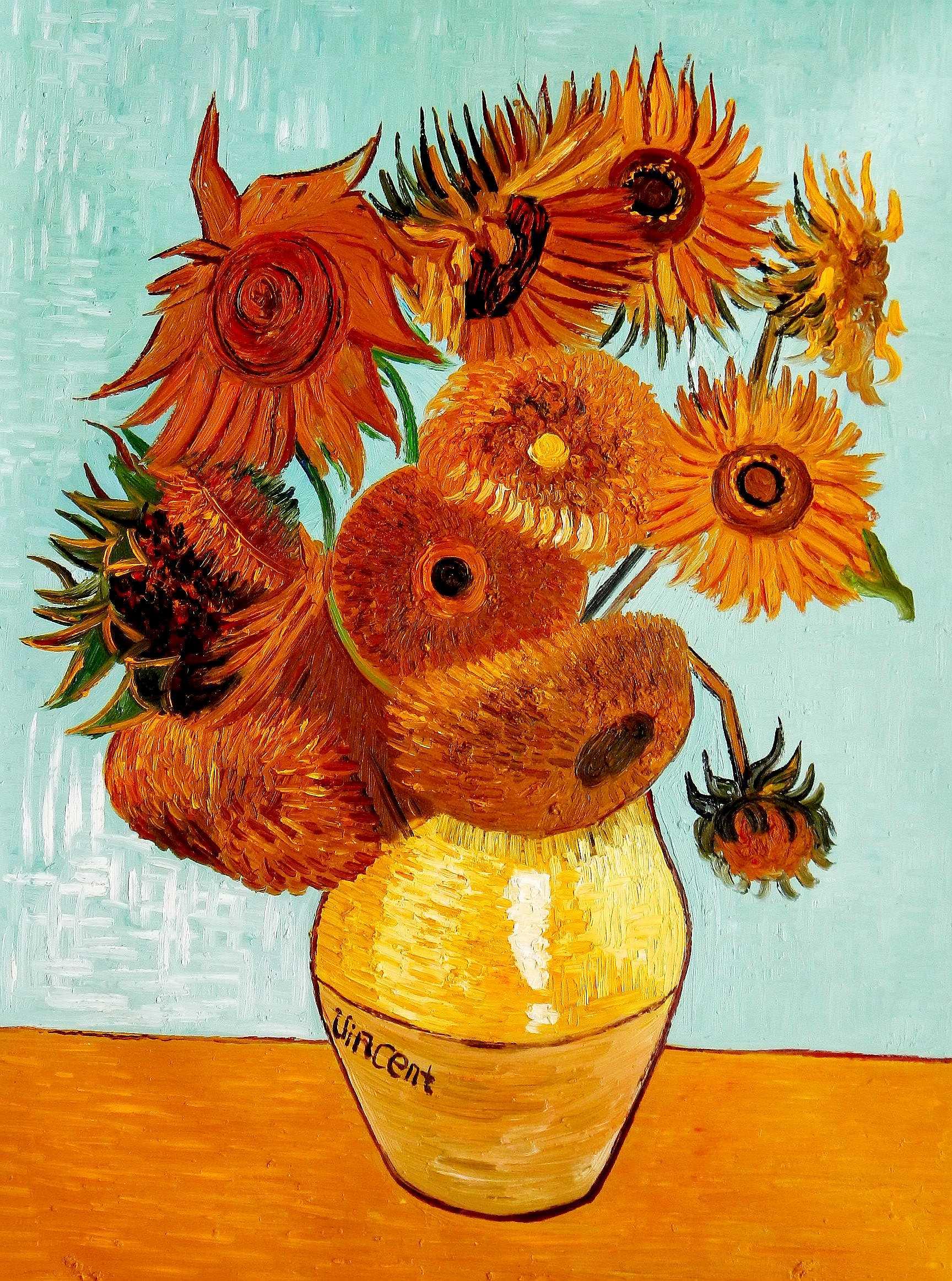 Vincent van Gogh - Zwölf Sonnenblumen i95898 80x110cm exzellentes Ölbild