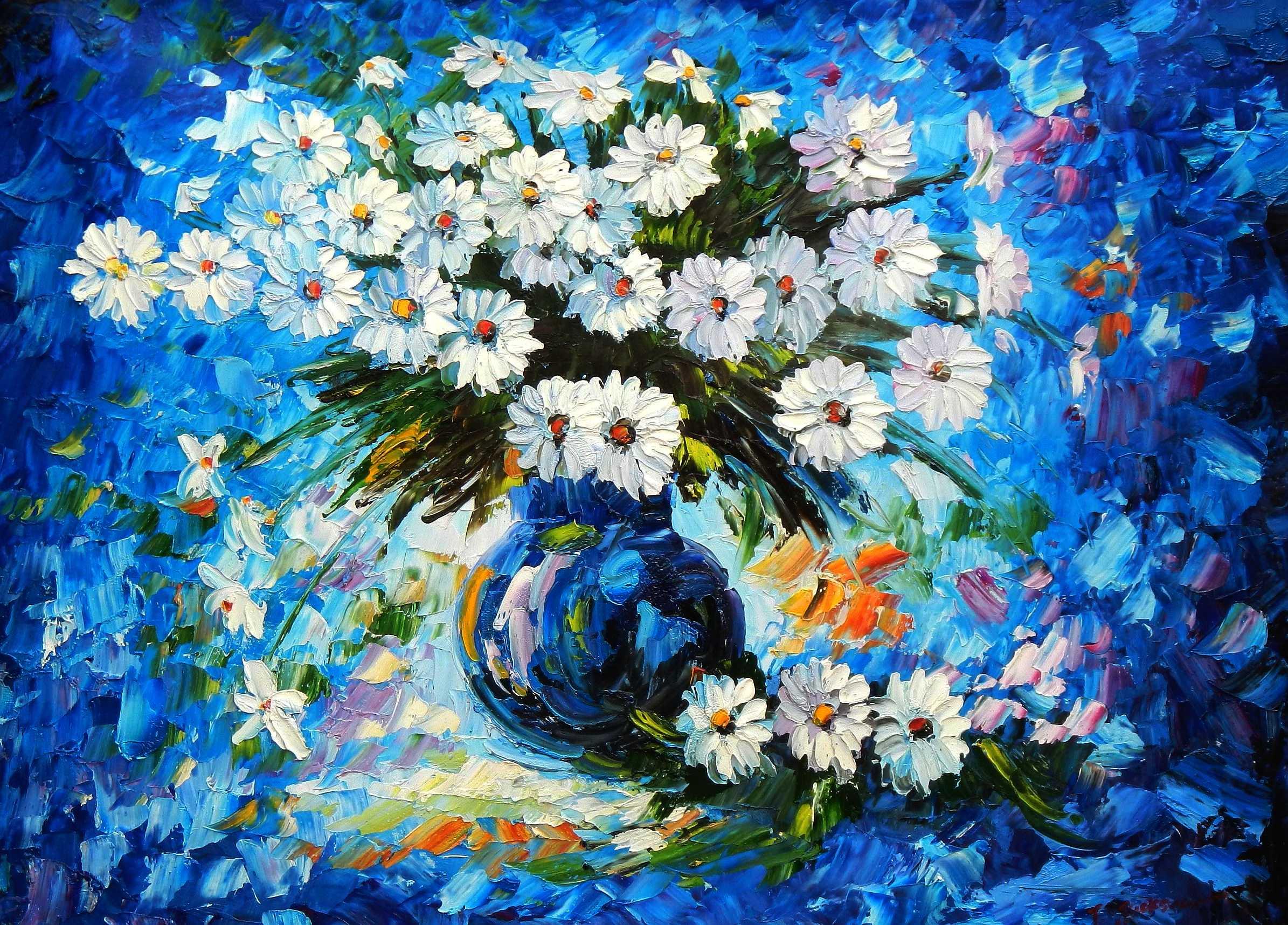 Modern Abstrakt - Vase mit bunten Blumen i95921 80x110cm abstraktes Ölbild handgemalt