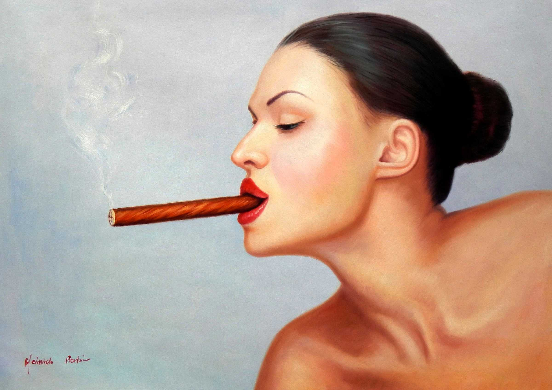 Modern Art - Frau mit Cohiba Zigarre i95925 80x110cm exquisites Ölgemälde