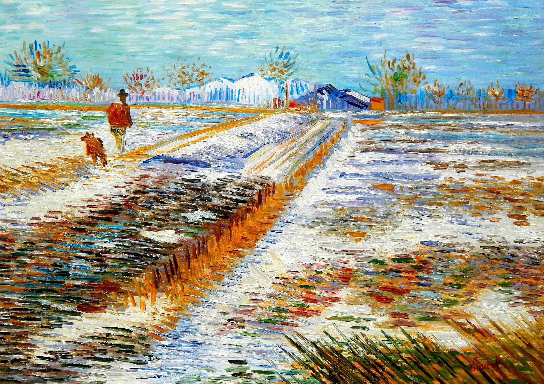 Vincent van Gogh - Landschaft mit Schnee i95930 80x110cm Ölbild handgemalt