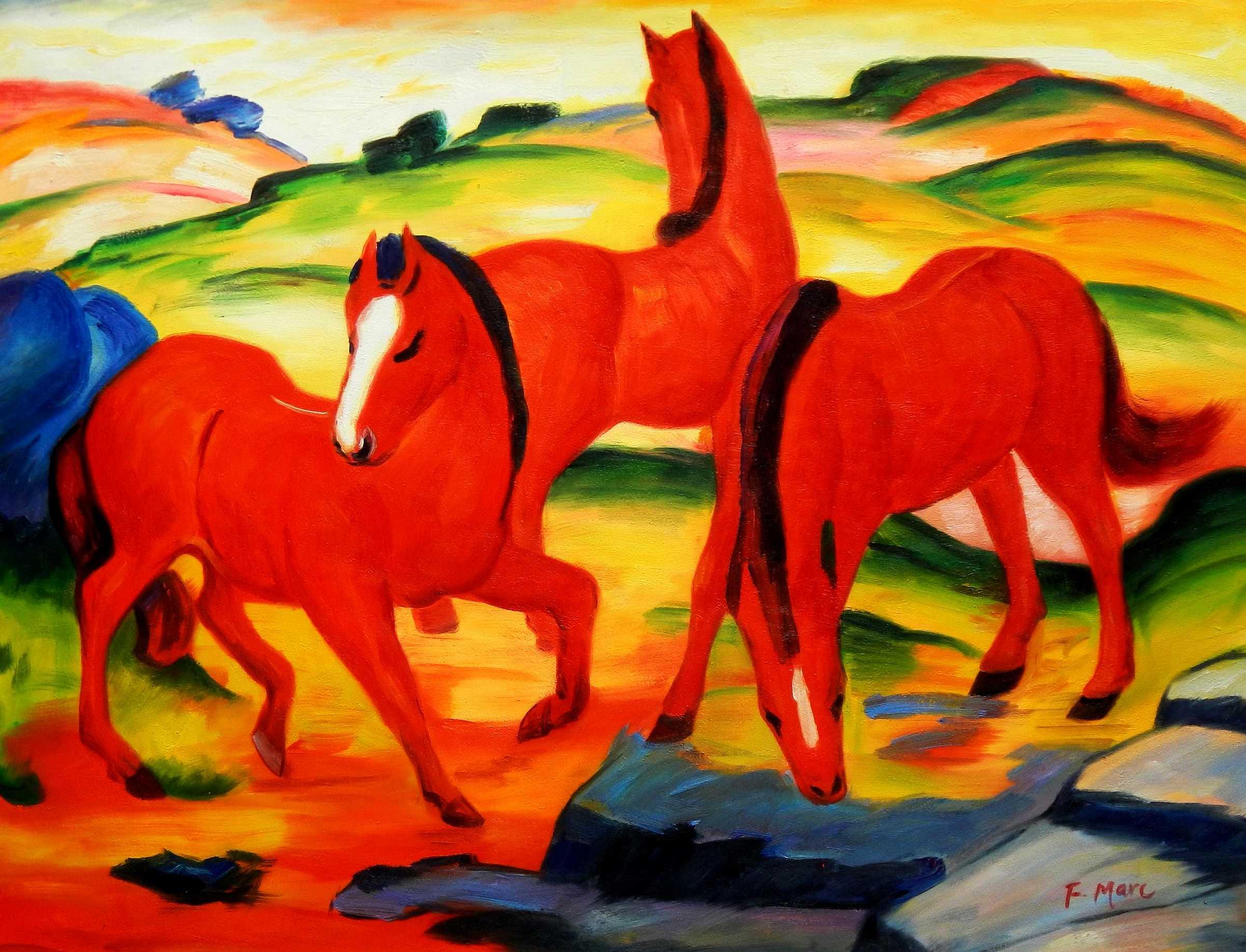 Franz Marc - Weidende Pferde k95942 90x120cm Ölgemälde handgemalt