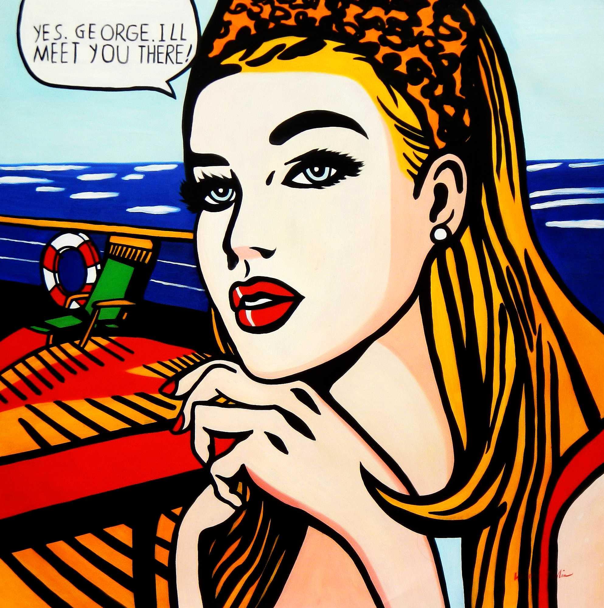 Homage to Roy Lichtenstein - Meet you Pop Art m95960 120x120cm exquisites Ölbild