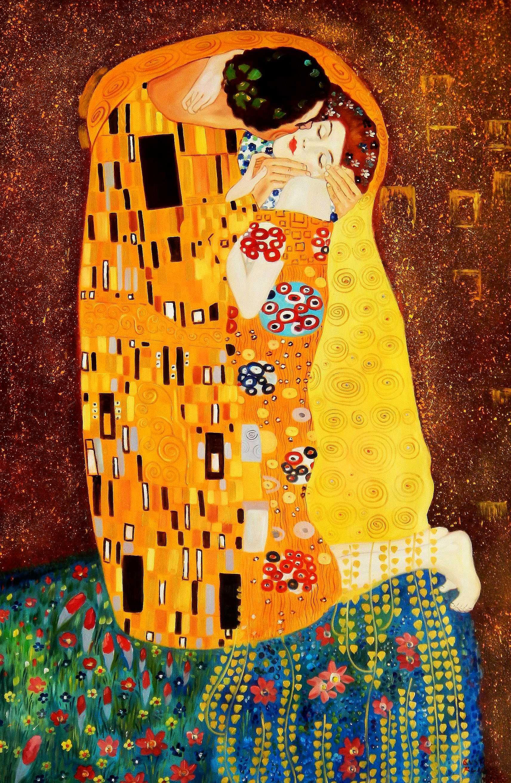 Gustav Klimt - Der Kuss p95968 120x180cm Jugendstil Ölgemälde handgemalt