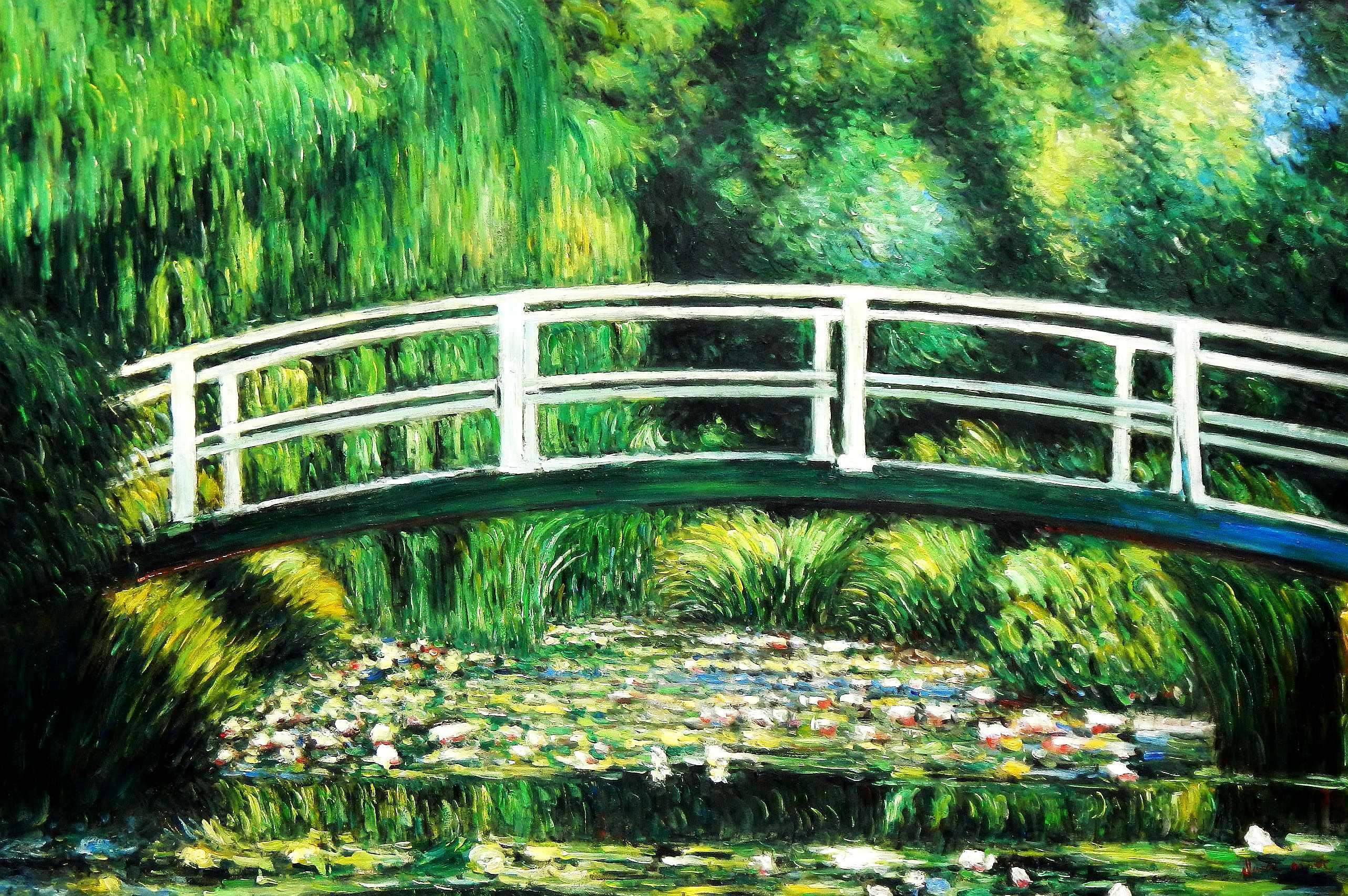 Claude Monet - Brücke über dem Seerosenteich p95975 120x180cm Ölbild handgemalt Museumsqualität