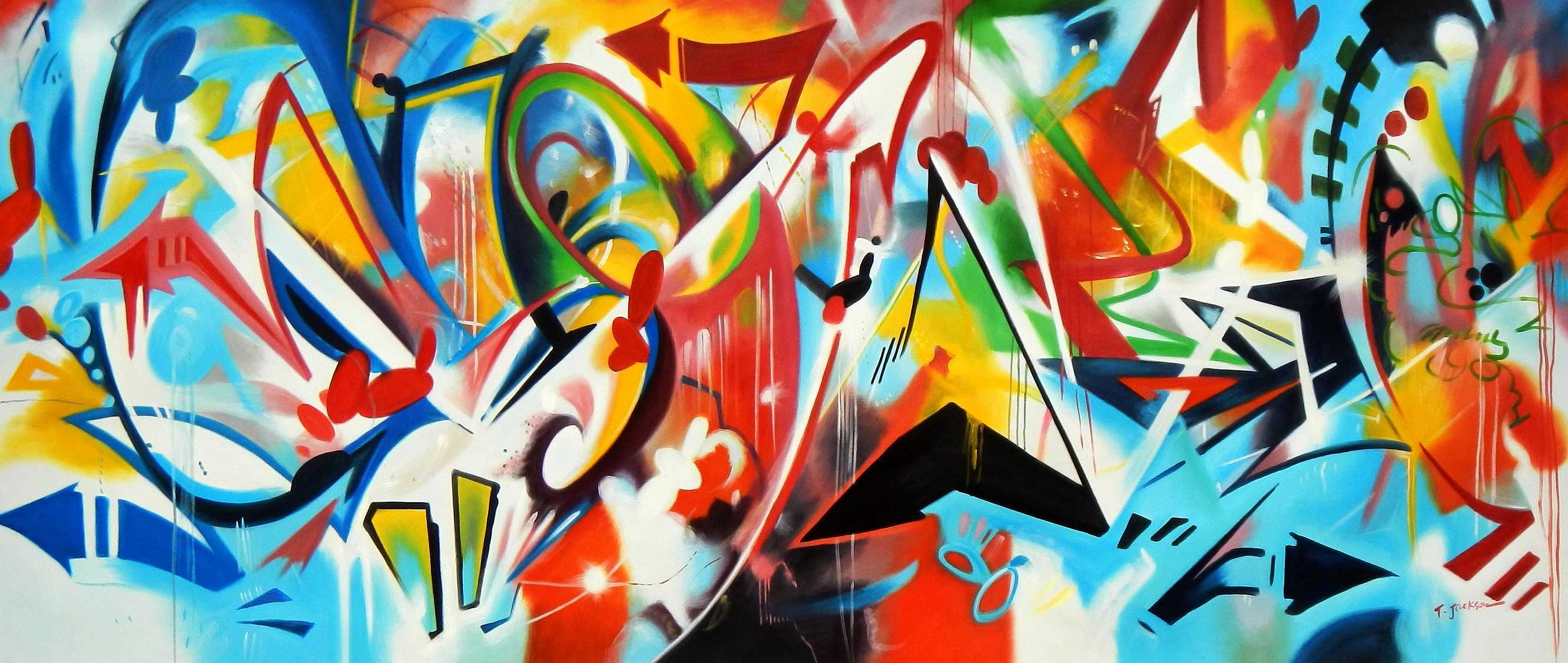 Abstract - Franz Marc street art mix t95965 75x180cm abstraktes Ölbild