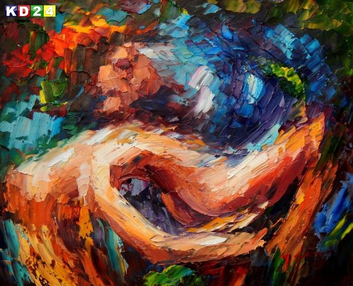 Modern Art - Der Sturm b88480 40x50cm abstraktes Ölgemälde handgemalt