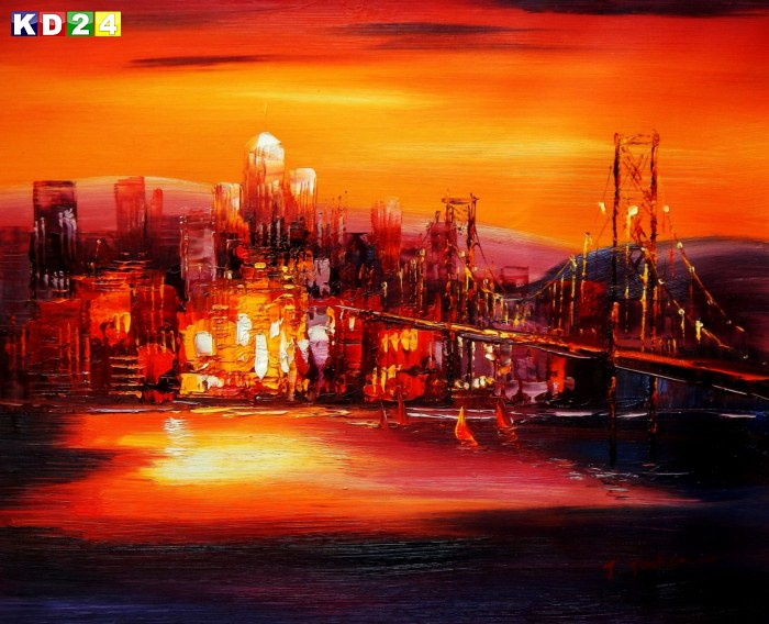 Modern Art - Golden Gate Bridge am Abend b88481 40x50cm abstraktes Ölgemälde