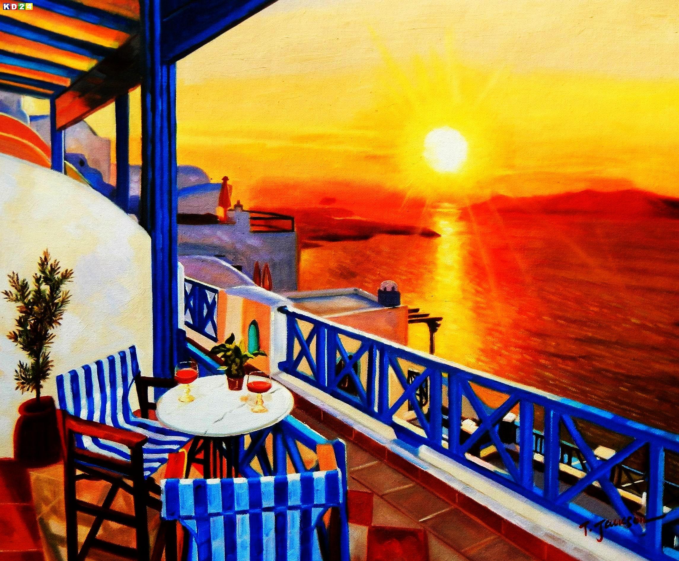 Modern Art - Hotelterrasse auf Mykonos c88541 G 50x60cm Ölbild handgemalt