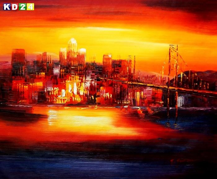Modern Art - Golden Gate Bridge am Abend c88550 50x60cm abstraktes Ölgemälde