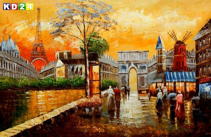 Modern Art Pariser Stadtleben am Abend d88645 G 60x90cm Ölgemälde handgemalt
