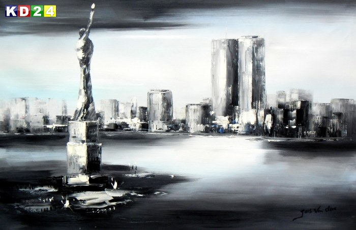 Modern Art New York Manhattan Skyline im Mondschein d89234 60x90cm imposantes Ölgemälde