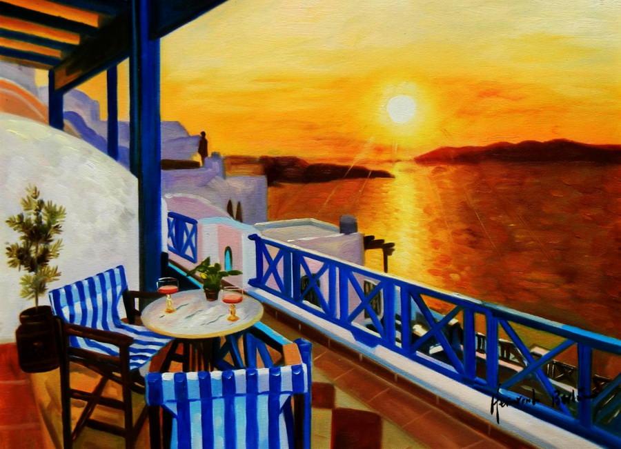 Modern Art - Hotelterrasse auf Mykonos a89273 30x40cm Ölbild handgemalt
