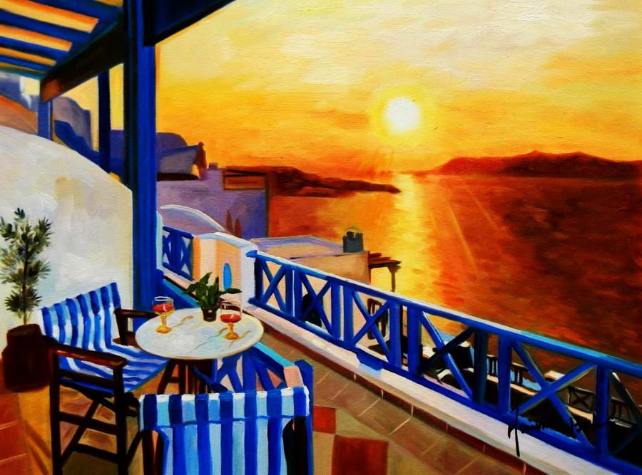 Modern Art - Hotelterrasse auf Mykonos a89274 30x40cm Ölbild handgemalt
