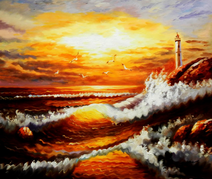 Sylt - Brandung im Abendrot c89424 50x60cm exzellentes Ölbild handgemalt