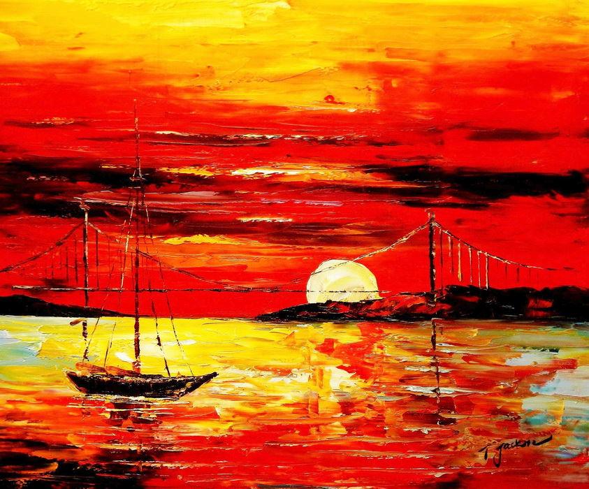 Modern Art - Sonnenuntergang bei Sylt c89431 50x60cm exzellentes Ölgemälde
