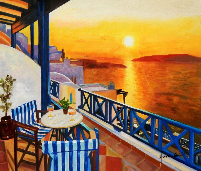 Modern Art - Hotelterrasse auf Mykonos c89443 50x60cm Ölbild handgemalt