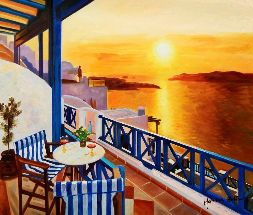 Modern Art - Hotelterrasse auf Mykonos c89445 50x60cm Ölbild handgemalt