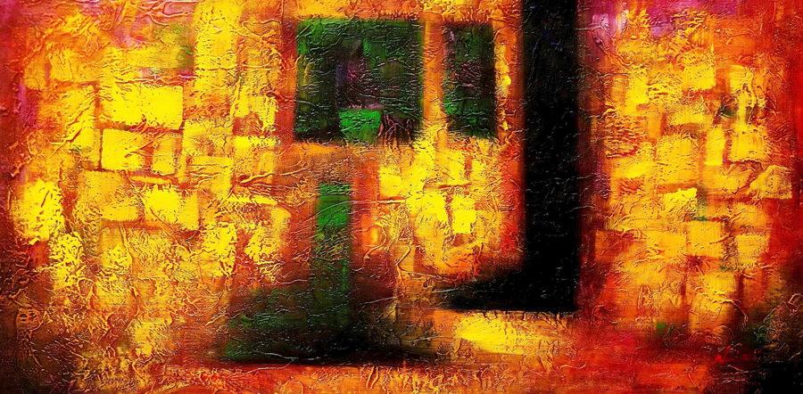Asbtrakt - Siegessäule Berlin f89569 G 60x120cm abstraktes Ölgemälde handgemalt