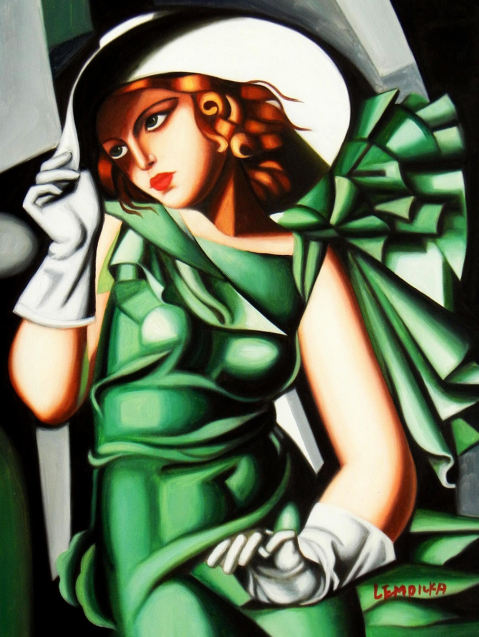 Homage to T. de Lempicka - Mädchen in Grün mit Handschuhen a94132 30x40cm Ölbild