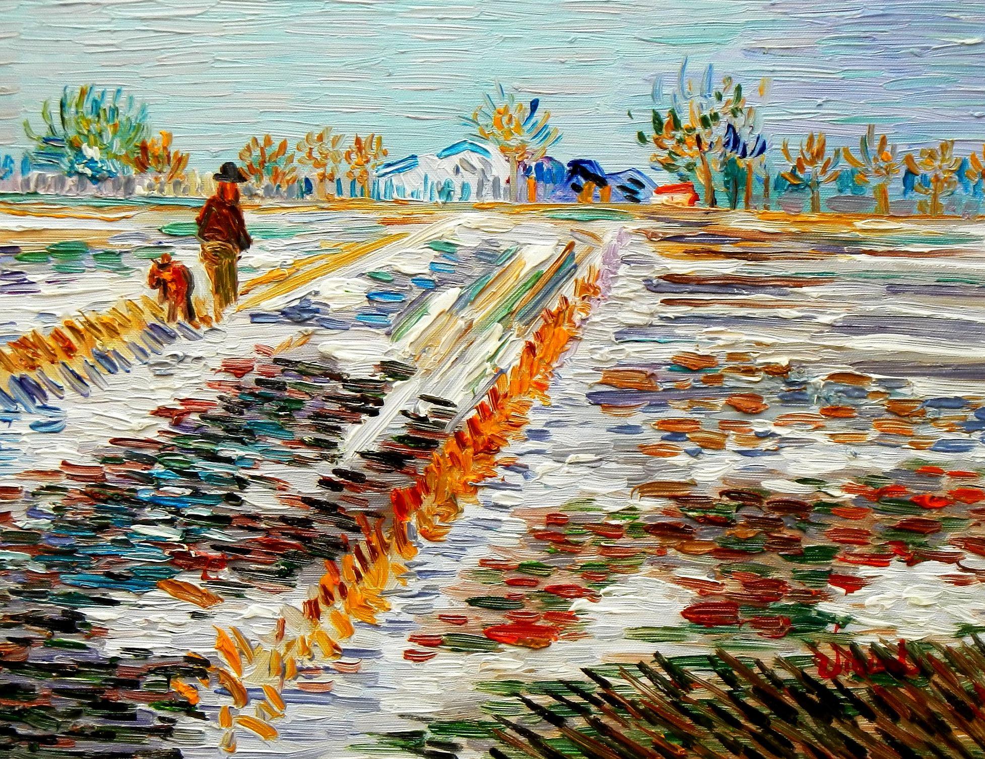 Vincent van Gogh - Landschaft mit Schnee a94143 30x40cm Ölbild handgemalt