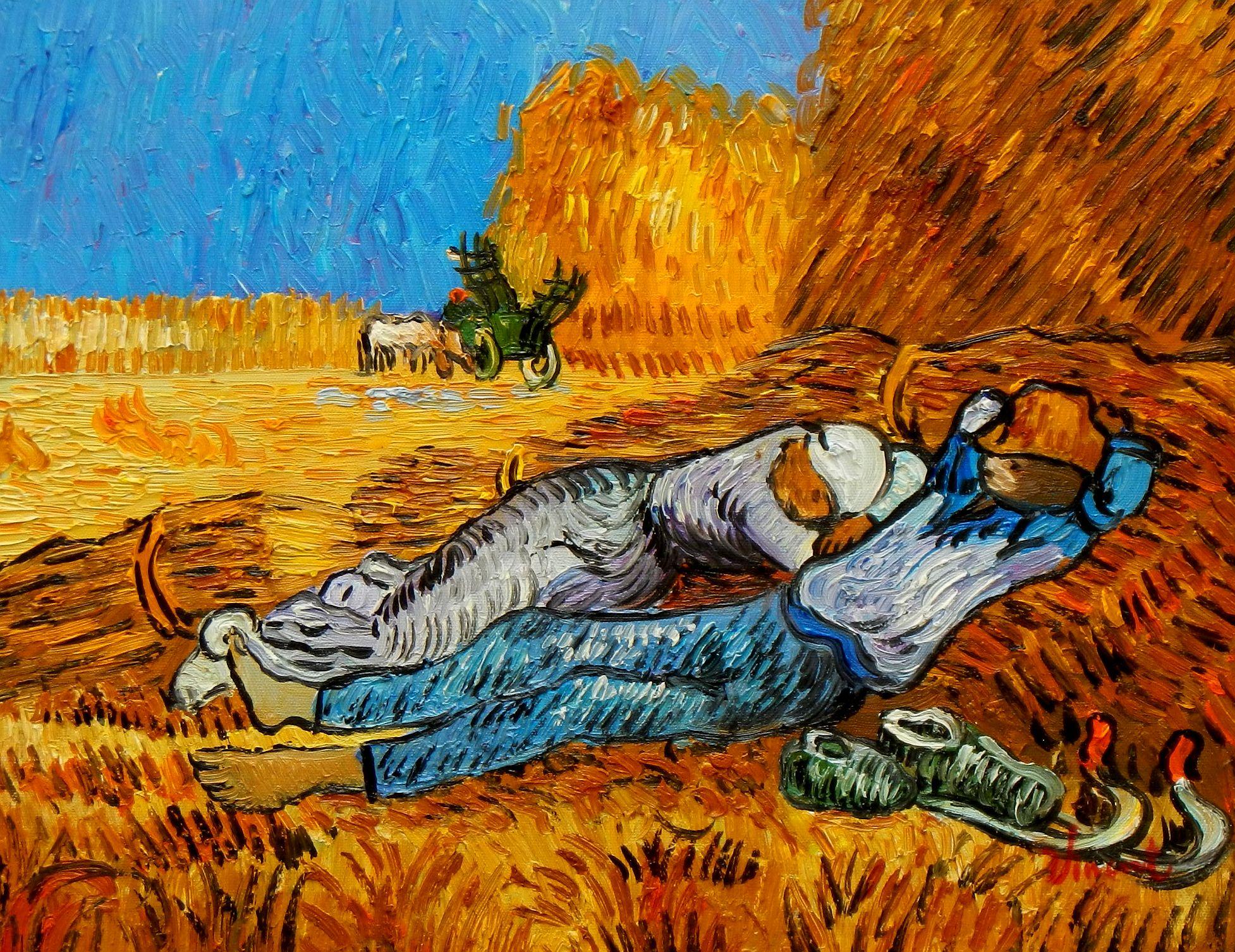 Vincent van Gogh - Ernterast a94144 30x40cm handgemaltes Ölgemälde