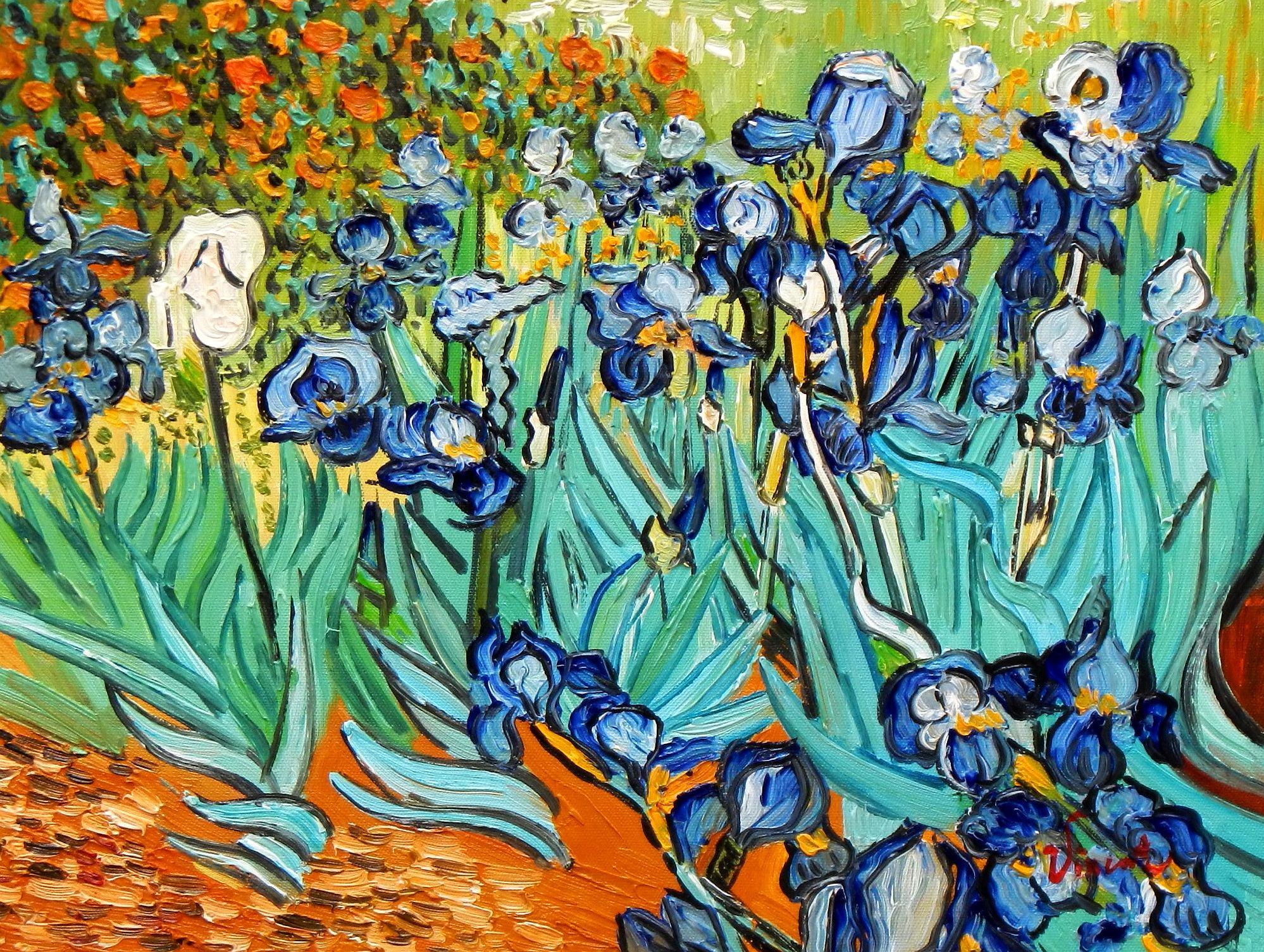 Vincent van Gogh - Blaue Iris a94150 30x40cm exzellentes Ölgemälde handgemalt
