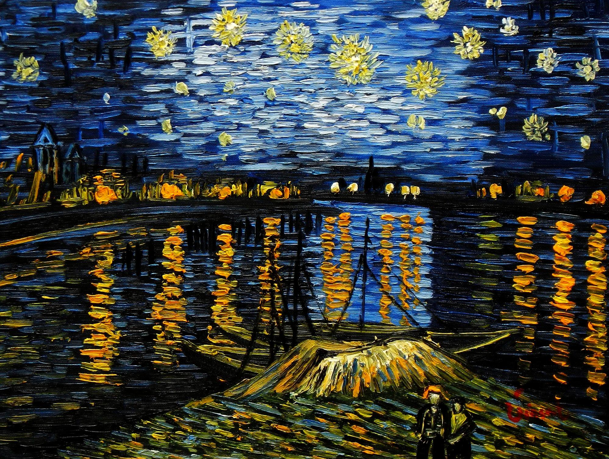 Vincent van Gogh - Sternennacht über der Rhone a94151 30x40cm exzellentes Ölgemälde handgemalt