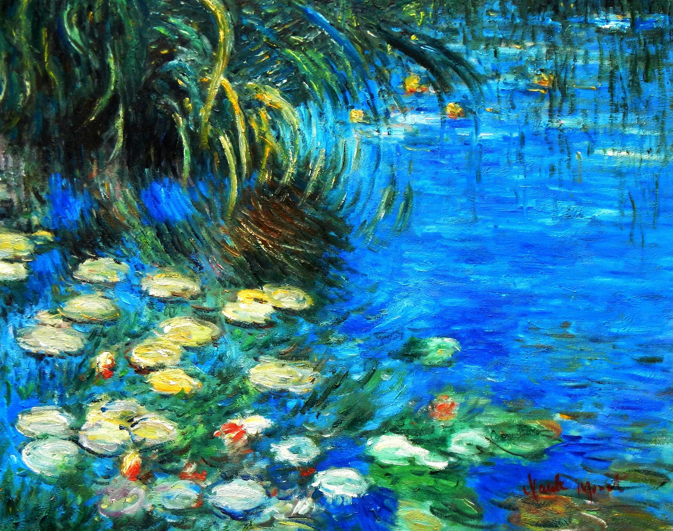Claude Monet - Seerosen und Schilf b94166 40x50cm Ölgemälde handgemalt
