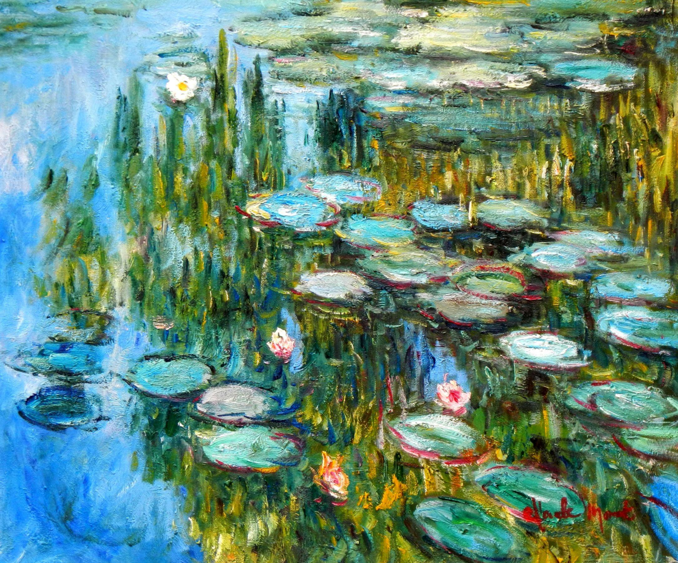 Claude Monet - Seerosen im Frühling b94173 40x50cm Ölgemälde handgemalt