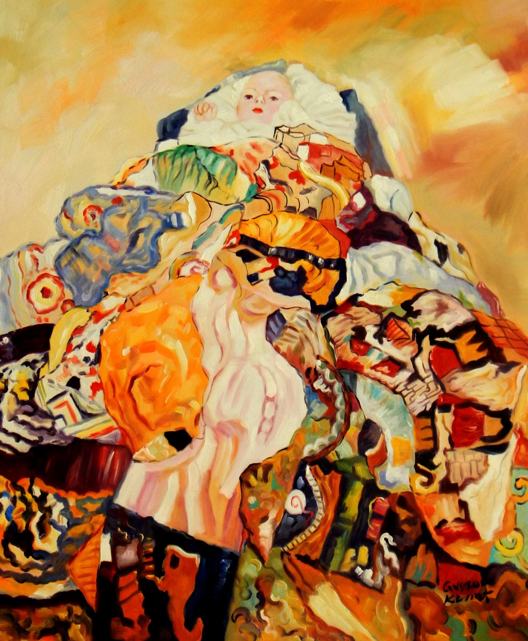Gustav Klimt - Baby c94190 50x60cm beeindruckendes Ölbild