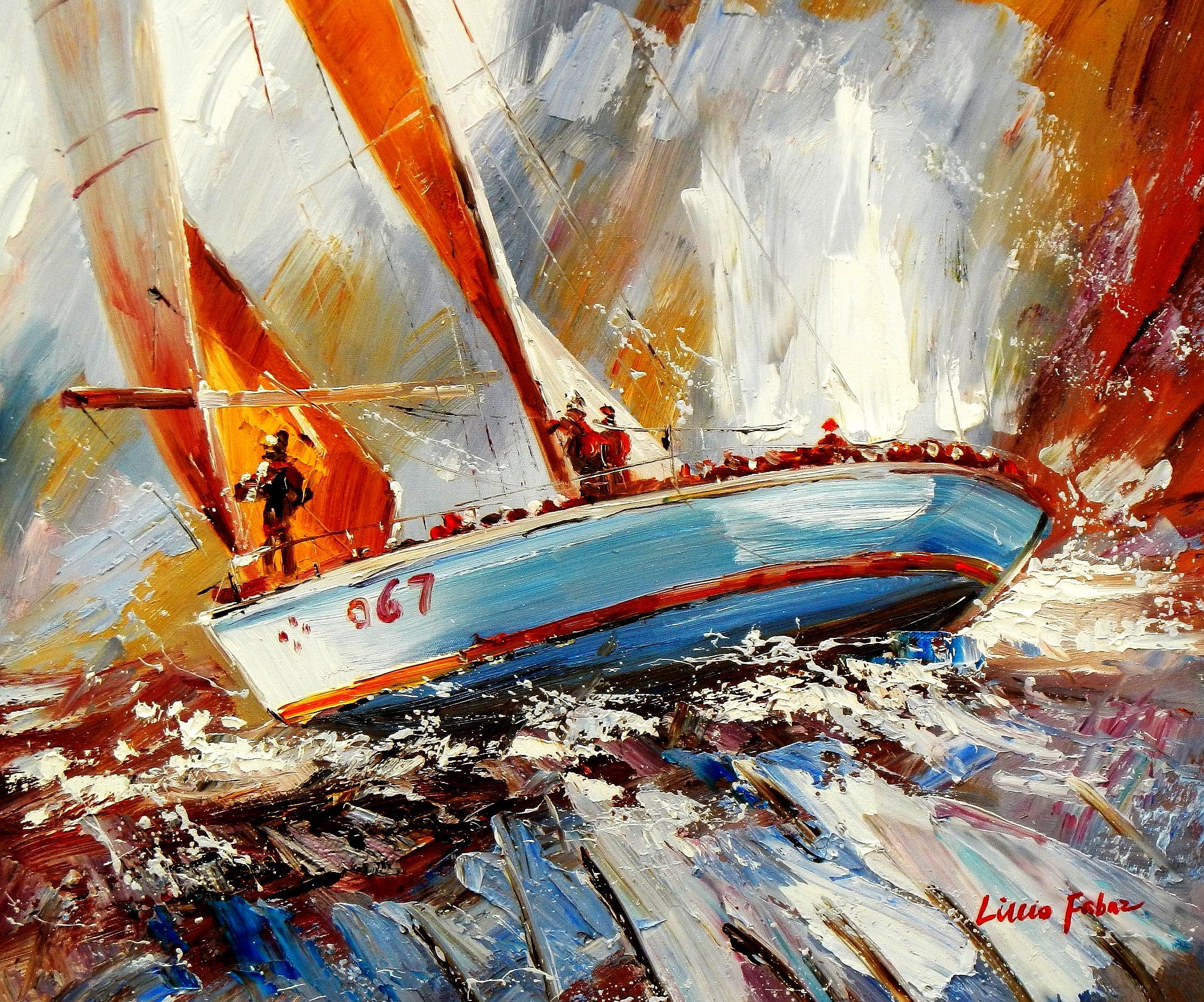 Modern Art - Segelregatta vor Helgoland c94198 50x60cm Ölbild handgemalt